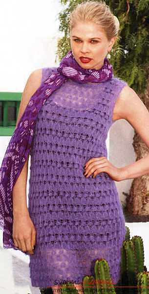 Quickly and easily knit a light purple summer dress. Photo # 2
