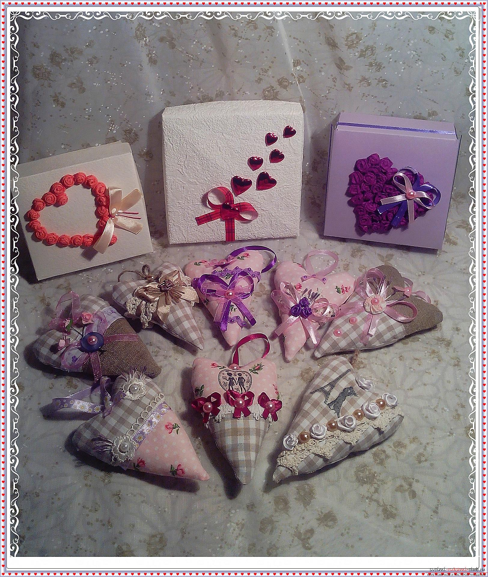 Master class on the creation of textile hearts, impregnated with the scents of flowers. Photo # 2