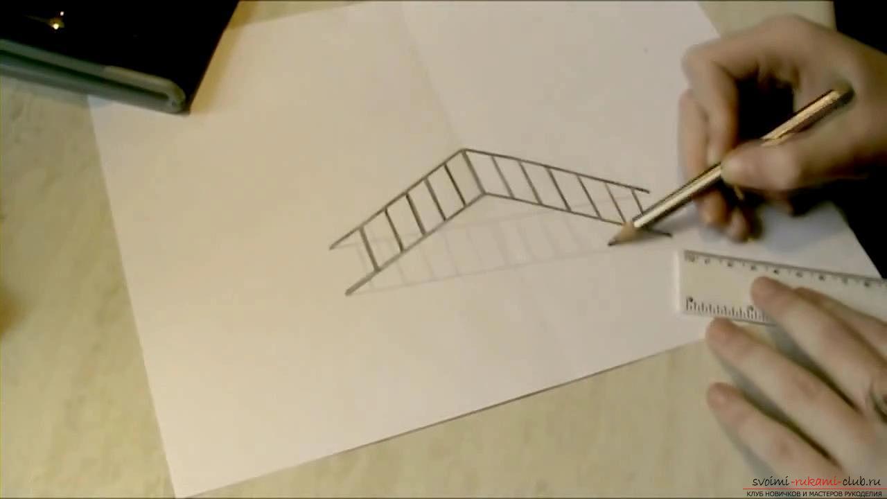 Рисуване 3d рисунка, изображение на стълби, молив за начинаещи. Снимка №4