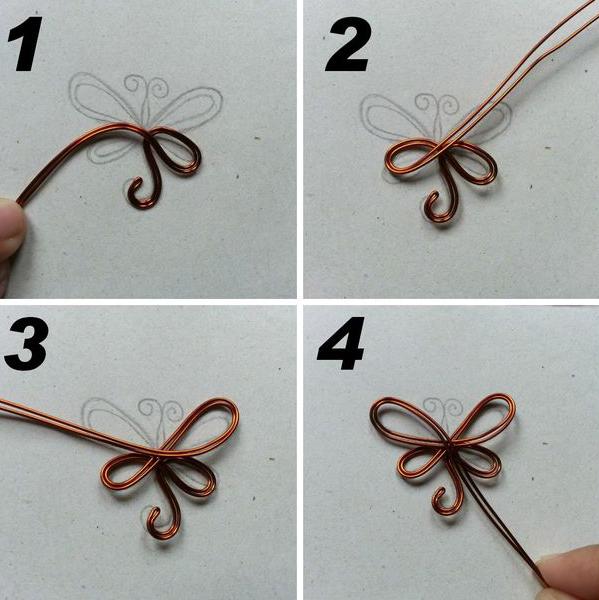Пеперуда, направена от жица от собствените си ръце