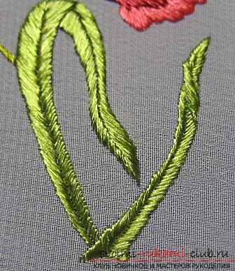 Embroidery with Chinese poppy on the scheme. Photo number 17