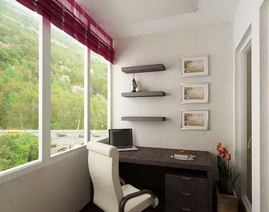 Built-in furniture can turn a loggia from a bedroom to a study