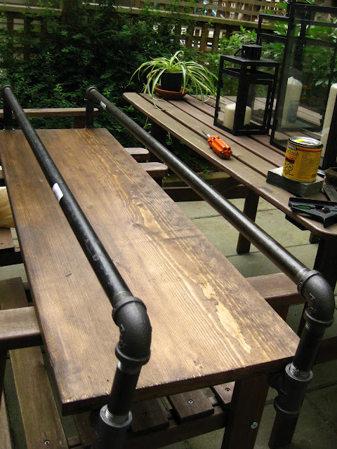 bar table from water pipes