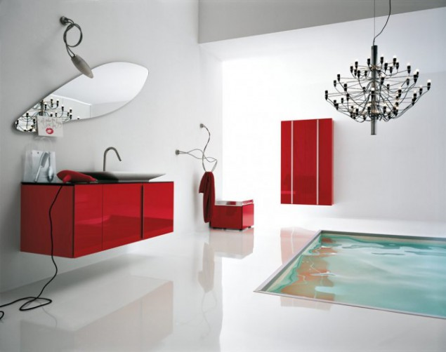white and red bathroom interior