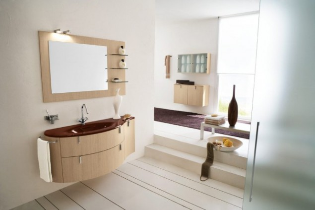 purple-beige bathroom interior
