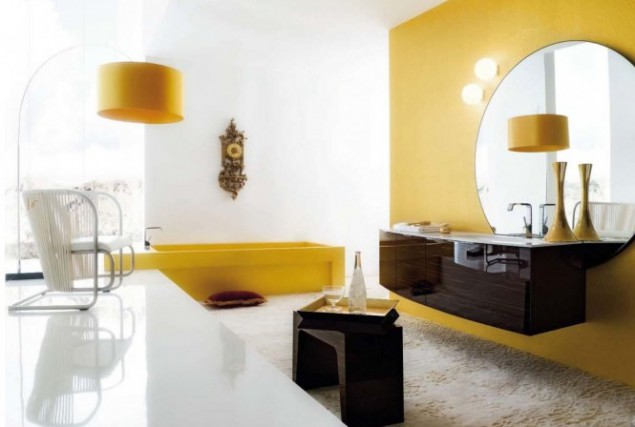 yellow-black bathroom interior