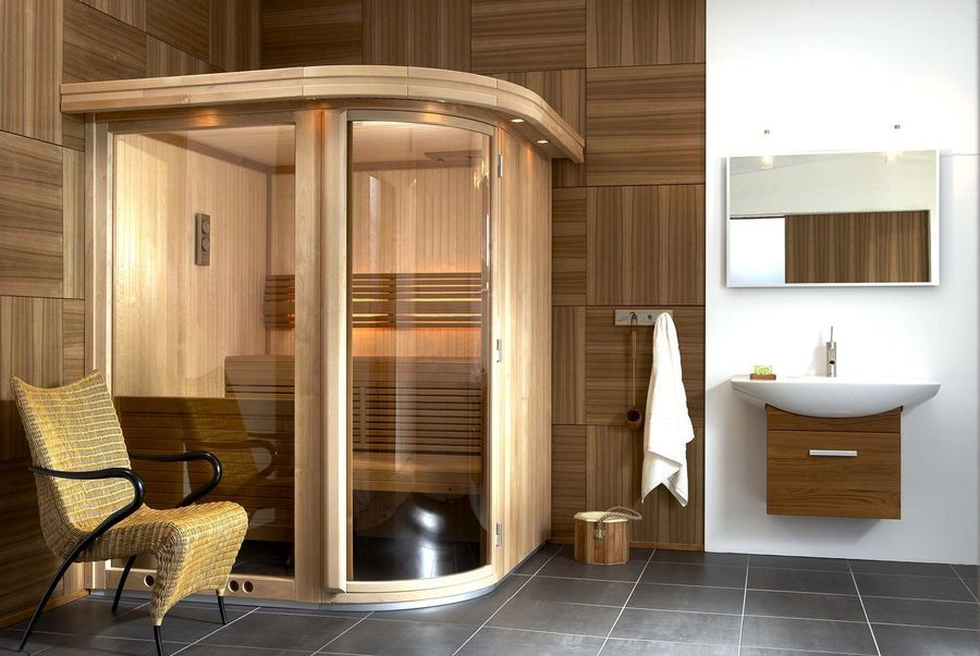 design of bathroom with sauna