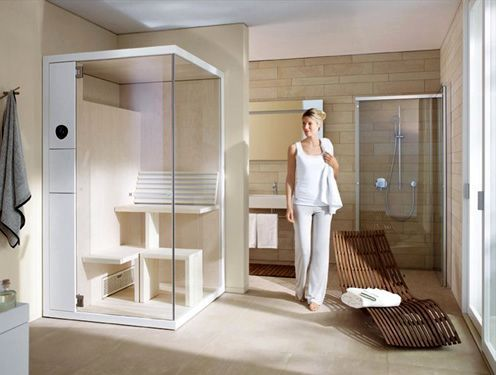 compact sauna in the bathroom