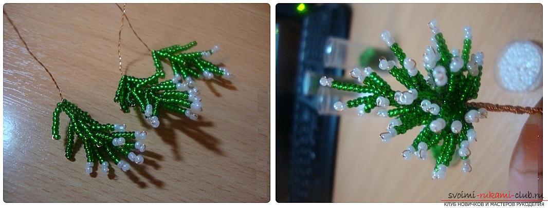 How to weave from beads and wire a New Year's, snow-covered or decorated Christmas tree with their own hands, step-by-step photos and a detailed description. Picture №3