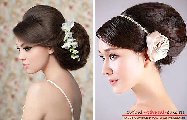 How to perform a beautiful wedding dress on medium hair with your own hands. Photo Number 14