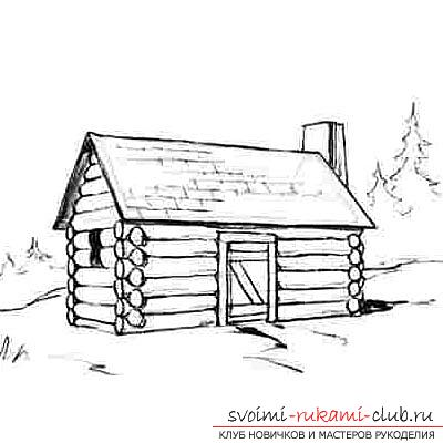 Drawing a wooden house in several stages for beginners. Photo №8