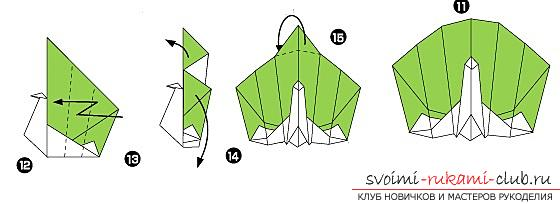 How to fold a beautifully napkin or hand-made paper in origami technique, schemes for children of 8 years old. Photo # 33