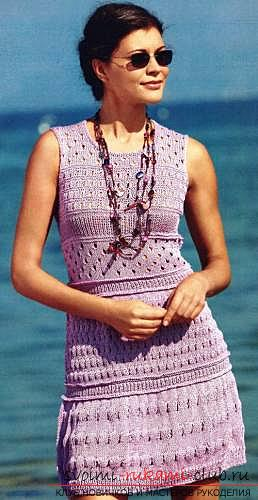 Quickly and easily knit a light purple summer dress. Photo Number 9