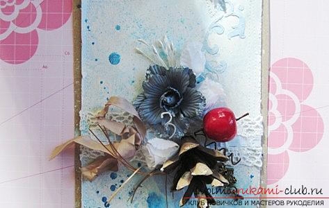 Shebbi-chic postcard for the new year - design of scrapbooking postcards and a master class. Photo №5