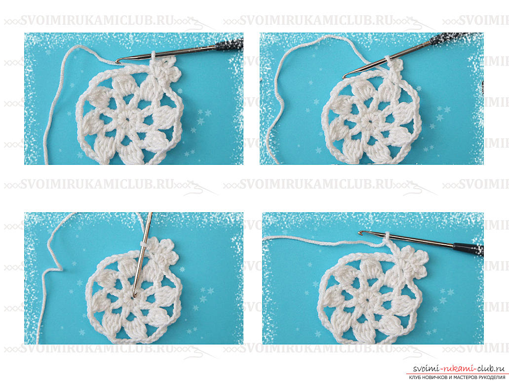 How to make a pattern for beginners in the form of snowflakes - a lesson and a master class. Photo Number 9