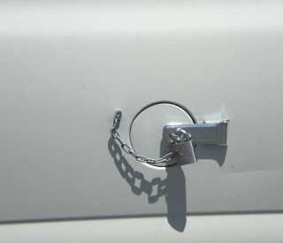 The lock for a gas tank.