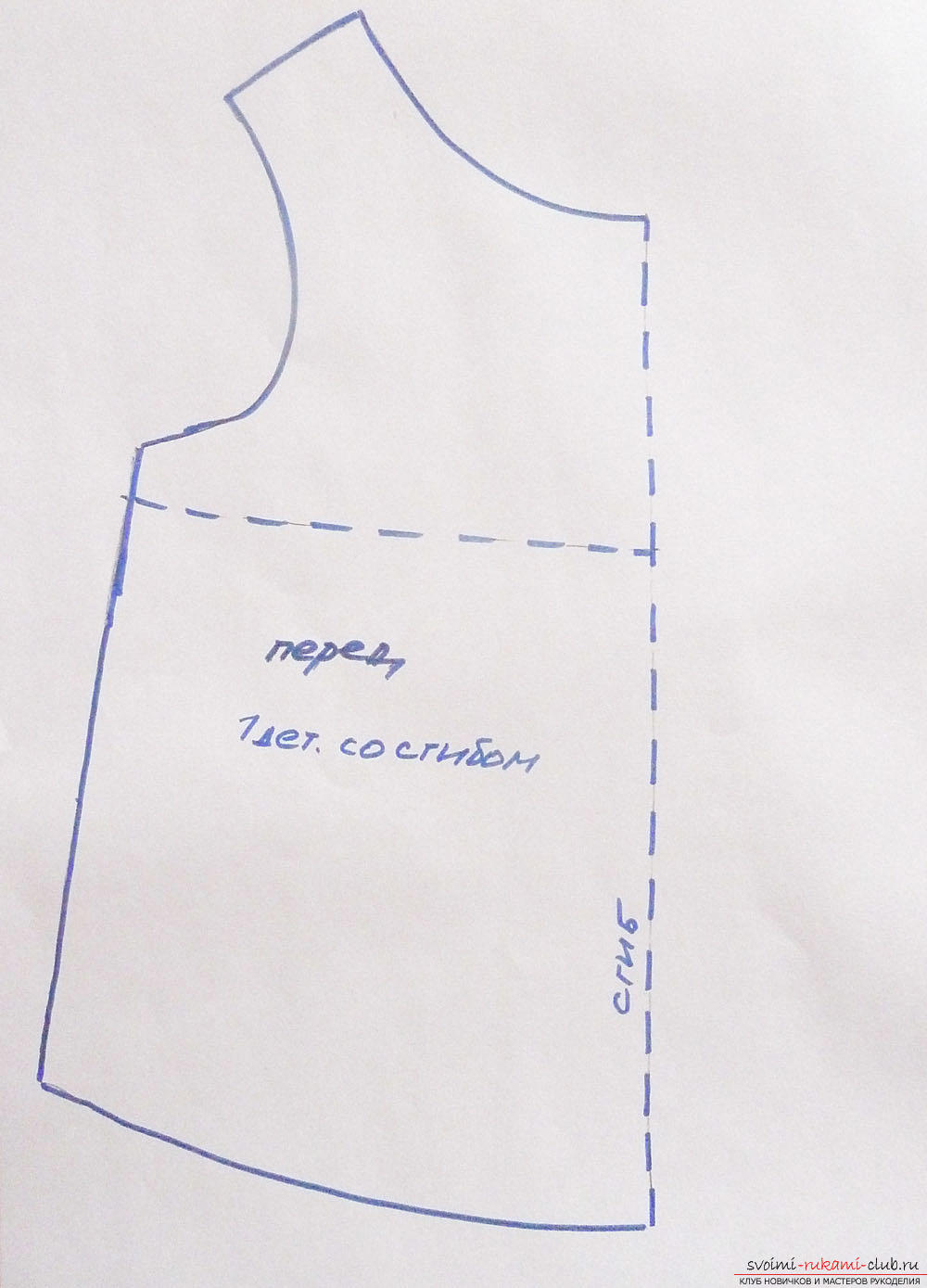 Description of the making of the pattern of a shoulder dress for a doll .. Photo №1