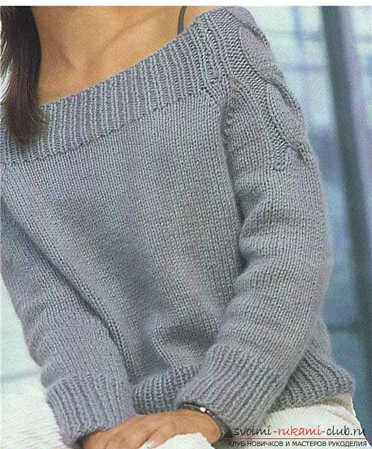 How to tie a pullover with a braid pattern. Photo №1