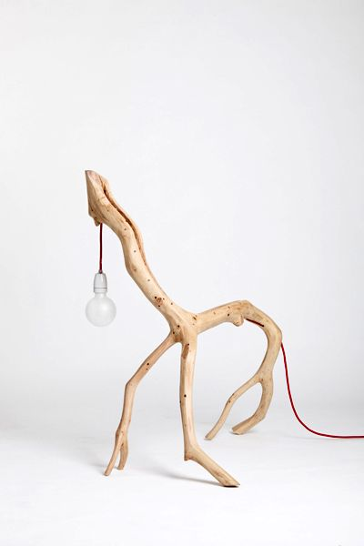 table lamp of wood branches