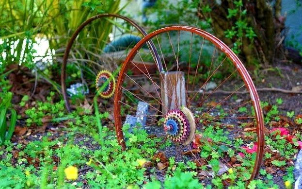 Bicycle wheels as a support for climbing plants in the garden