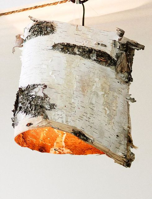 lamps from birch bark by own hands