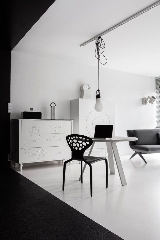 black and white interior of the apartment
