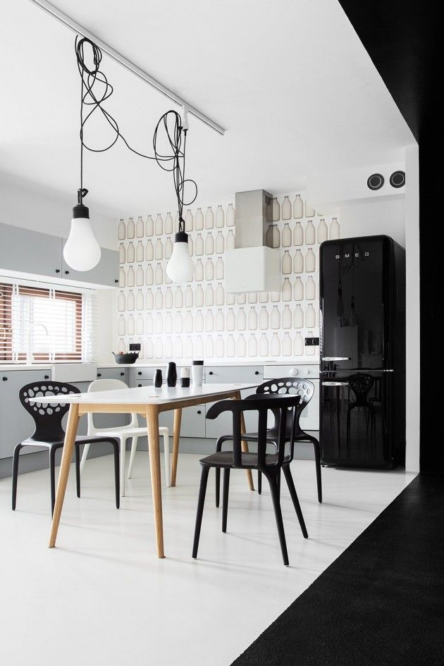 black and white interior - kitchen and dining area