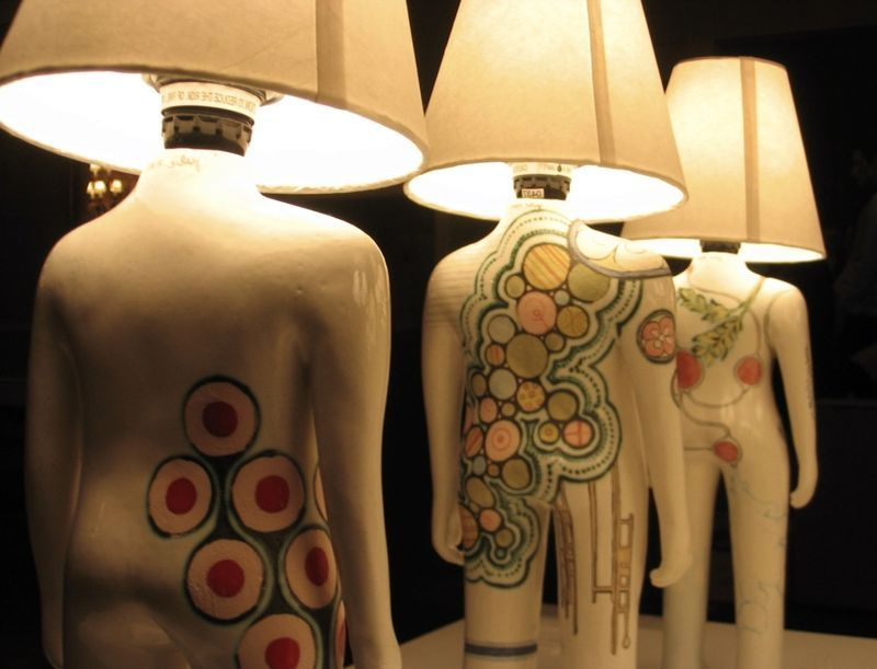 lamps in the form of a man with body art