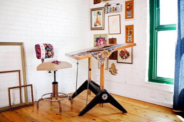 Boho style workplace for creative people.