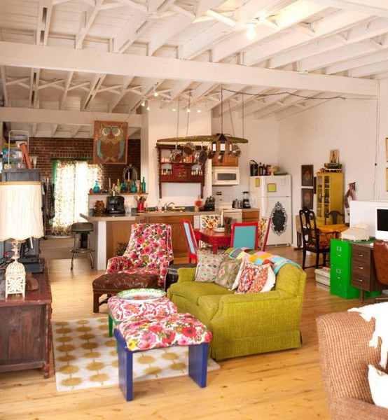 Boho chic style in the interior photo