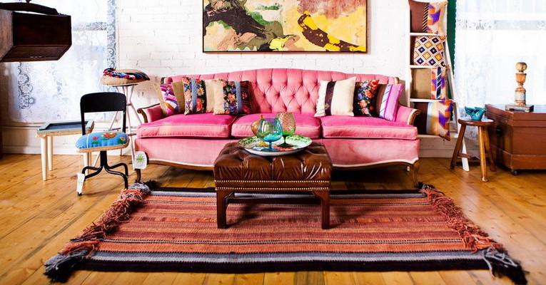 Boho style or bohemian chic in the interior photo