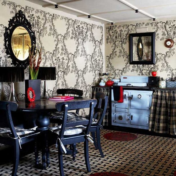 The interior of the dining room and kitchen in the style of boho photo