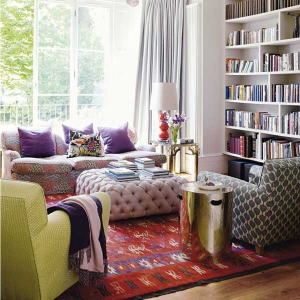 Pillows, sofas and armchairs - boho style interior