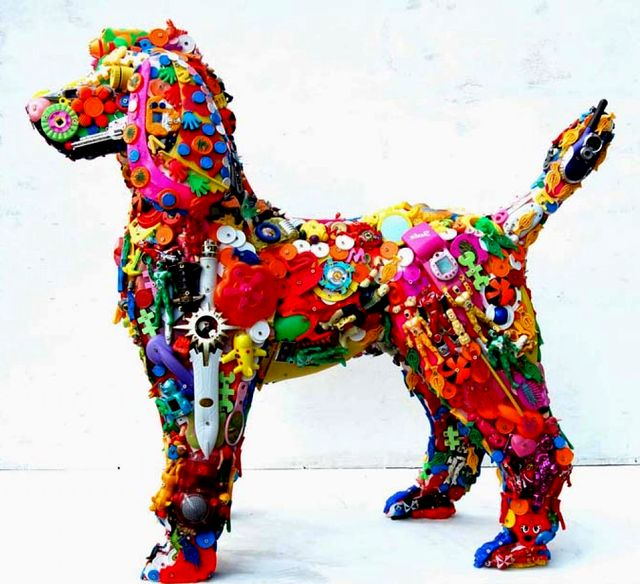 Sculpture from toys and plastic parts robert bradford