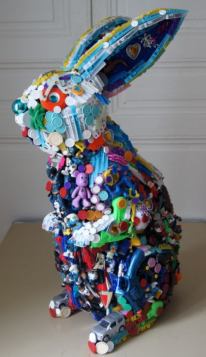 Hare - sculptures from toys and trash