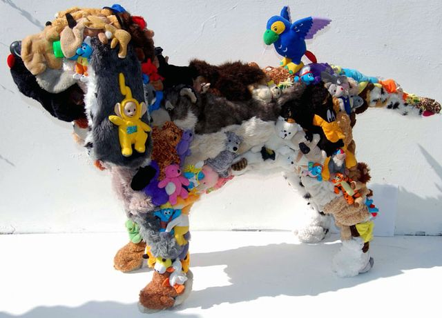 Dog - a sculpture of soft toys