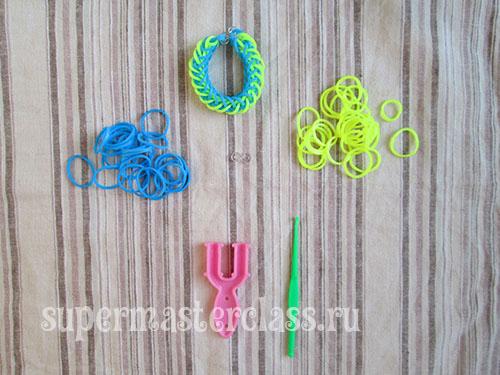 How to weave bracelets from rezinochek French braid
