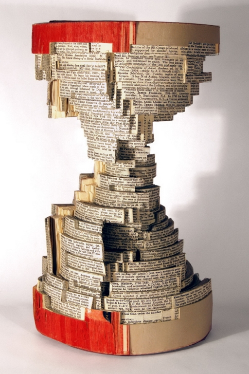 hourglass, book art, Brian Dettmer