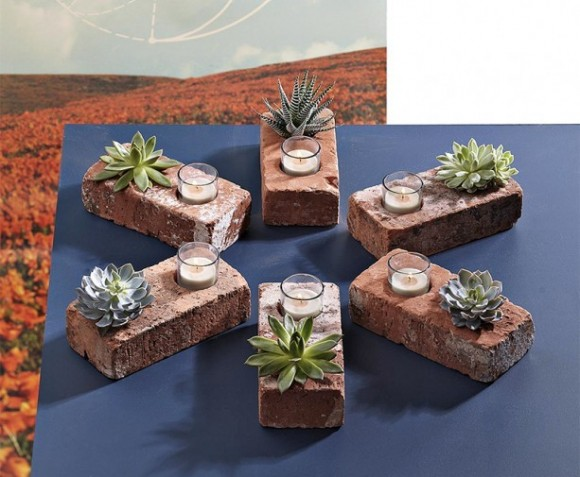 brick as a candlestick and a pot for succulents
