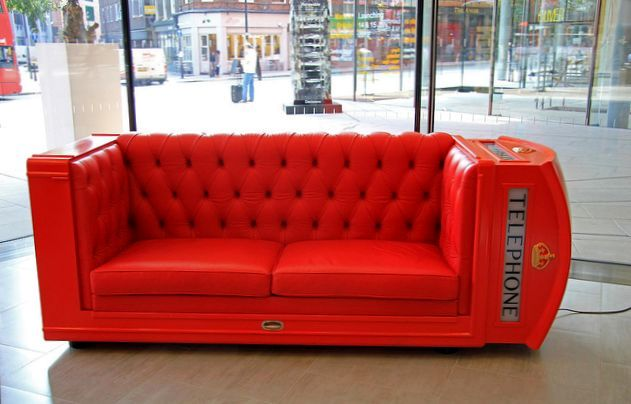 unusual sofa from the red phone booth