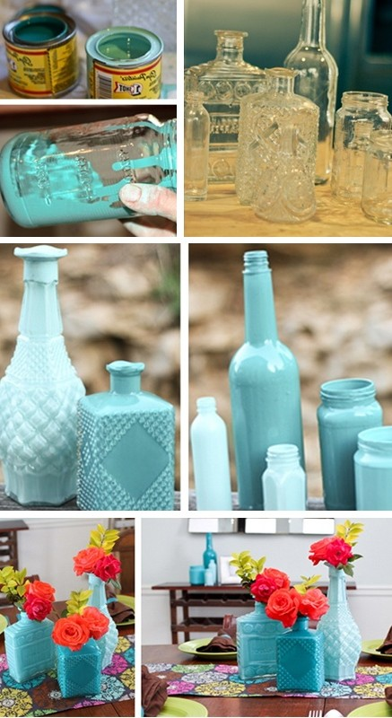 Blue and blue glass bottle vases