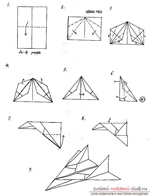 Methods of making paper airplanes in origami technique. Photo Number 9