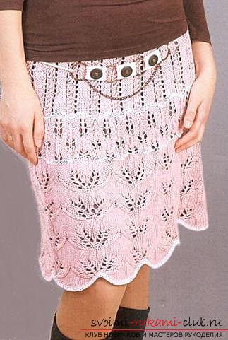 We knit a pink skirt with openwork edges. Photo №5