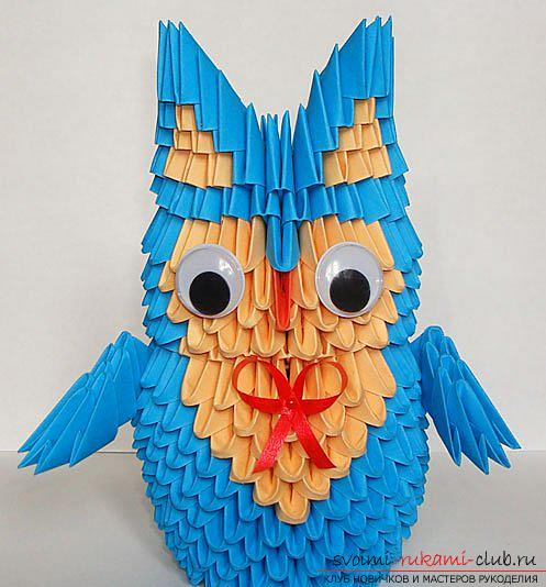 Figurine of an owl, assembled from modules in origami technique. Picture №10