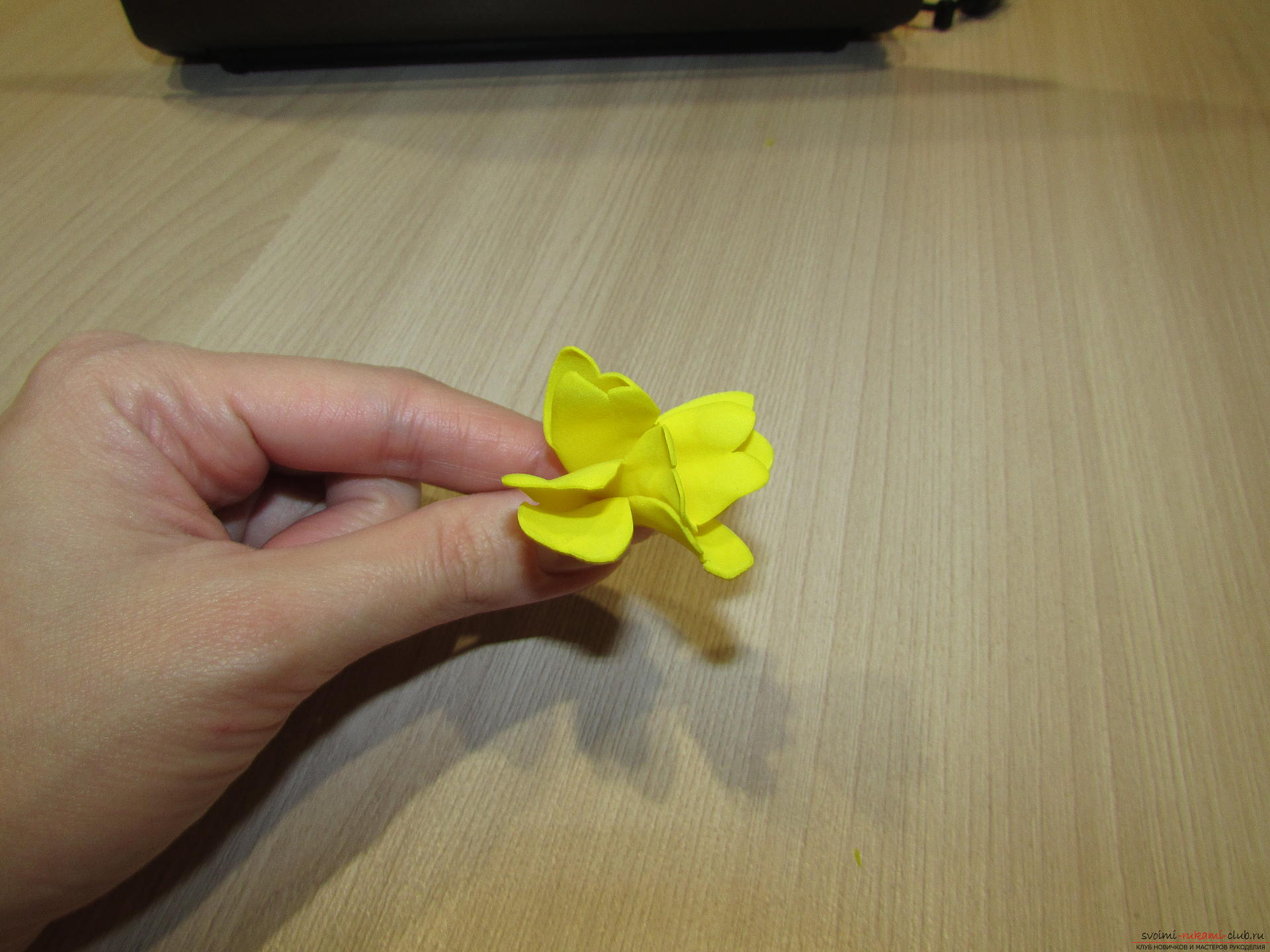 A master class with step-by-step photos will teach you how to make flowers from fameirana yourself. Photo number 12