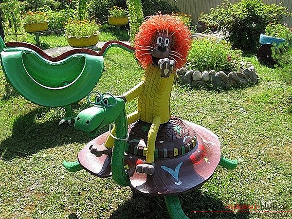 Create a figure for the garden of the tire. Lessons for crafts for free .. Picture number 2