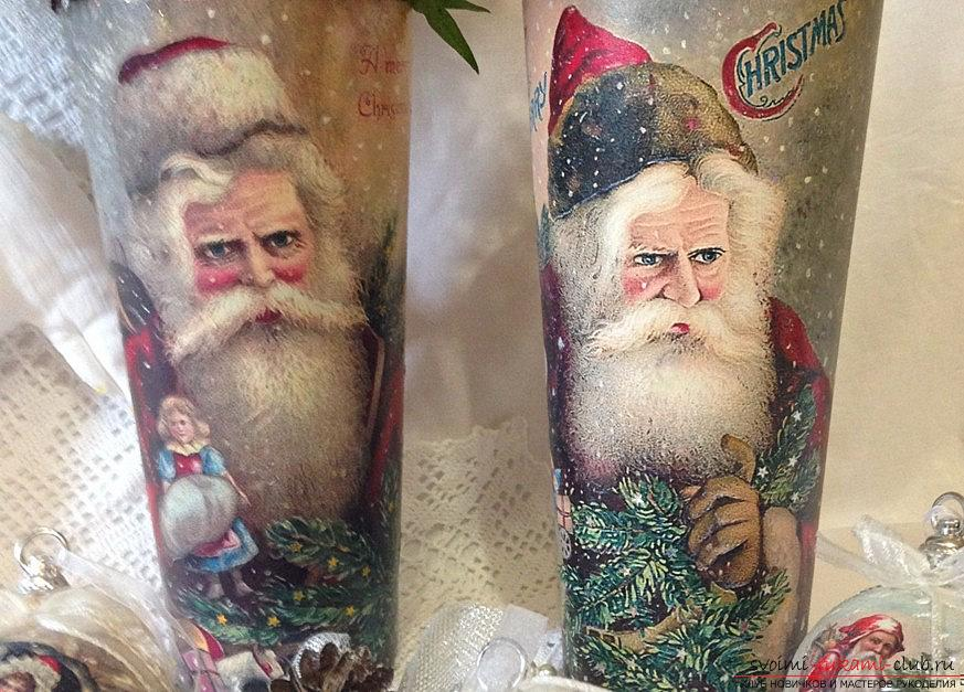 New Year's idea of decoupage of a vase from a bottle of vodka is a step-by-step master class. Photo №1