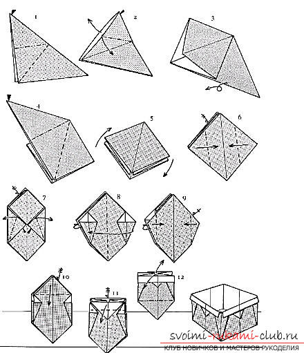 How to make a gift box in origami technique? Scheme of assembling the box Picture №3