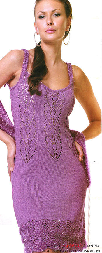 Quickly and easily knit a light purple summer dress. Photo №8