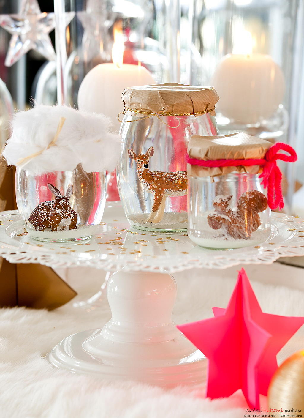 Serving of the New Year's table, tips and recommendations for making central compositions for the New Year's table, decorating chairs, instructions and photo examples .. Photo # 4
